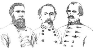 Texas Civil War Generals John Bell Hood, Sullivan Ross, and Albert Sydney Johnston.